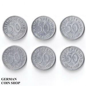 Set 50 Reichspfennig 1942 A B D E F G Aluminium - Drittes Reich