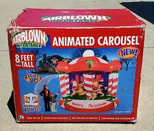 Nib 2005 Gemmy Airblown Inflatable Merry Christmas Animated Carousel 8Ft Rare