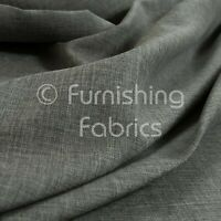 10 Metres Of Durable Modern Linen Effect Smooth Chenille Upholstery Grey Fabric