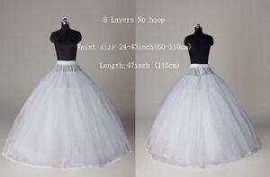 New White 8 Layer Tulle No-Hoop Wedding dress Petticoat Underskirt Crinoline