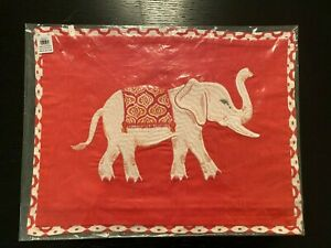 "NEW Pottery Barn Ellie Pillow Cover 12x16"" Elephant Red Warm Sold Out"