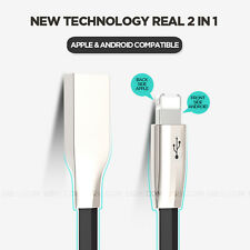 2 in 1 Micro USB & Lightning Data Sync Charger Cable Cord iPhone 6 5S Samsung S6
