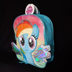 My Little Pony 3D Backpack Rainbow Dash Kids School Lunch Book Bag Nursery New
