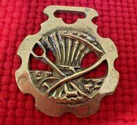 Large Vintage Brass Horse Harness Bridle Medallion -  Sickle (#1014)