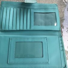 Guang Tong Bifold Teal Green Blue Wallet Photo Sleeve Credit Cards Kisslock