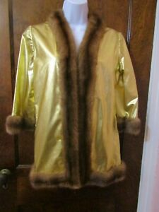 Vtg 1970's Gold Lame Women's Jacket with Mink Fur Trim Bond Girl Size Petite