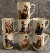 Norman Rockwell Museum Collection 1982 Coffee Mugs Cups Gold Trim Set Of 7