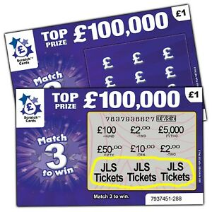 JLS Tickets as Prize / Gift Surprise Reveal Scratch Card Personalised Concert