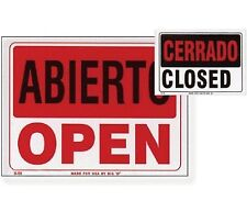 "9"" X 12"" Abierto Sign w/ Cerrado Sign on Back, 2pc"