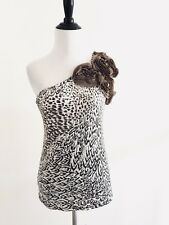 Lipstick Womens One Shoulder Top Size L Brown Embellishment Appliqué Stretch N1