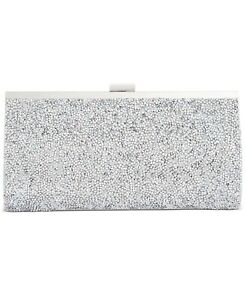 NEW INC Silver Crystal Lexy Minaudiere Clutch Handbag with Chain Strap NWT!