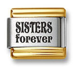 Italian Charm Bracelet Link Laser Sisters Forever Gold Trim Stainless Steel