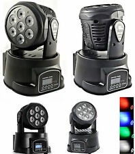 Proiettore LED RGB testa rotante 360°.Luci colorate disco mobile motore faro DMX