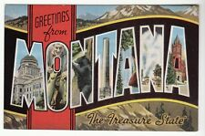 """[51093] Old Large Letter Postcard Greetings From Montana """"The Treasure State"""""""