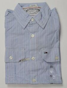 Tommy Hilfiger Denim Men's Custom Fit Striped Dress Shirt-Blue-XSmall