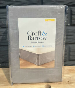 "Croft & Barrow Boxpleat Bedskirt - Full Size 54"" x 75"" - Gray - New"