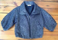 Prada Metallic Sparkle Lame Dark Gray Puff Cropped Sleeve Womens Jacket 42 Italy