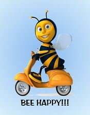 METAL REFRIGERATOR MAGNET Motor Scooter Bee Happy Insect Humor Friend Family