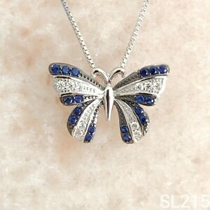 Luxury Blue Spinel & Diamond Butterfly Sterling Silver Necklace + Travel Pouch