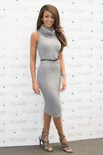 Lipsy Michelle Keegan Bodycon Dress Midi Size 12 Grey Knit Roll Neck With Belt