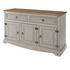 Premium Corona Grey Washed Medium Sideboard Dresser Solid Pine & Dovetail Joints