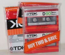(4) Vintage TDK Normal Position Type I D90 Audio Cassettes - 2 Double Packs