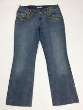 Autentico femminile jeans donna usato straight zampa bootcut W32 tg 46 blu T3443