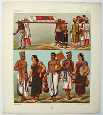 VINTAGE 1800's Color Costume Plate, Fashions of India, Fashion, 011