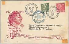 56784  -  MUSIC - SWEDEN - POSTAL HISTORY:  SPECIAL COVER with card inside 1940