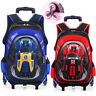 Double/ Six Wheels Trolley School Book Bags Rolling Luggage Kids Boys Backpack