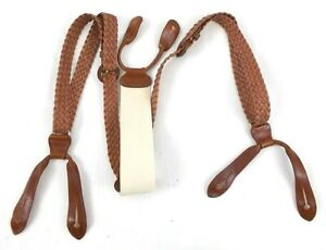 Trafalgar Classic Men's Brown Leather Adjustable Buckle Suspenders One Size