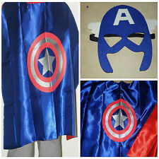 SUPERHERO KIDS CAPE AND MASK CAPTAIN AMERICA SUPER HERO COSTUME FANCY DRESS UP