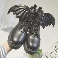 New Women Round Toe Lace up Gothic Ankle Boots Punk Retro Lady wing Shoes