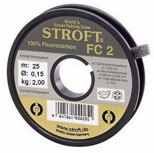 STROFT FC 2 (25m 50m) Fluorocarbon 100% Vorfach Tippet Schnur 0.09 bis 0,35mm