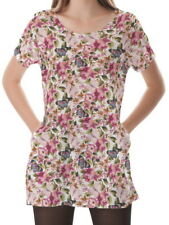 Butterfly With Floral Women Scoop Neckline Pockets Shirt Blouse b16 acr00748