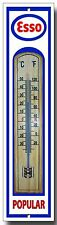 ESSO POPULAR METAL AND WOOD THERMOMETER.GARAGE,OIL,ESSO PETROL,RETRO.