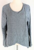 Vigorella grey long sleeve wool blend stretch wrap front top - NWOT - S/M
