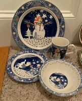Epoch MR SNOWMAN 4 pc Place Setting(s) Dinner, Salad Plates, Bowl, Mug