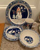 Epoch MR SNOWMAN 4 pc Place Setting(s) Dinner, Salad Plates, Bowl, Mug