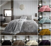 NEW LUXURY TEDDY HUG & SNUG FLUFFY FUR FLEECE DUVET COVER SET COSY SOFT BED SET