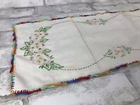 Vintage White Linen Table Runner Hand Embroidery Rainbow Crochet Lace Edge 29x9""