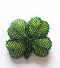 seed beads- green Pin/Brooch- Four Leaf Clover-