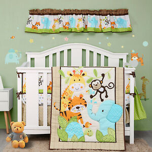 Jungle Crib Bedding Set for Baby Boys ,9 Pcs Lion Deer Elephant Crib Set(Green)