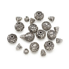 10Sets Guru Bead Prayer Beads Charms 3-Hole Round Beads Sets Antique Silver