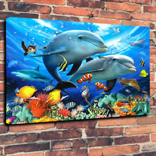 """Colourful Dolphin Undersea Reef Printed Canvas Picture A1.30""""x20"""" x 30mm Deep"""