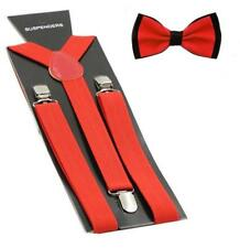 Hosenträger Y-Form farblich passender Fliege 2er Set 25mm Rot #Kontrast
