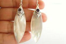 White Mother of Pearl Purple Amethyst 925 Sterling Silver Dangle Drop Earrings