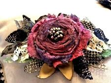 boho lagenlook shawl coat pin BROOCH pink red corsage wedding DRESS PIN 12 cm