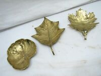 Set 3 Brass Virginia Metal Crafters Leaf Ashtrays MetalCrafters VMC Maple