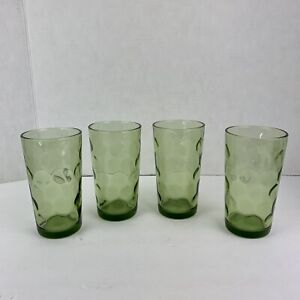 MID CENTURY 4 Drinking Green Avocado Glass Dot Bubbles Continental Can Co. Coin